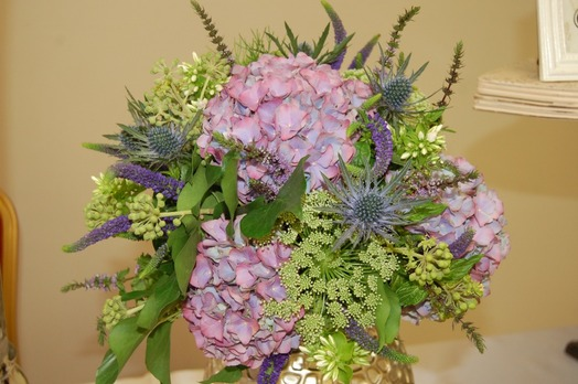 hydrangea and thistle wedding bouquet