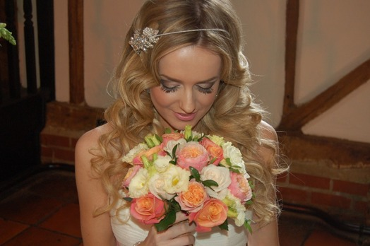 coral wedding bouquet barns bedford