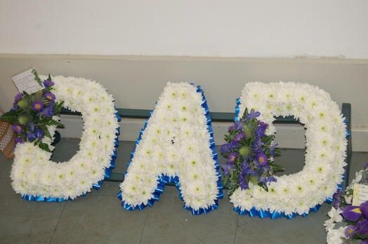 Blue and white dad tribute bedford