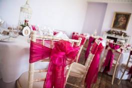 hot pink wedding chair sash