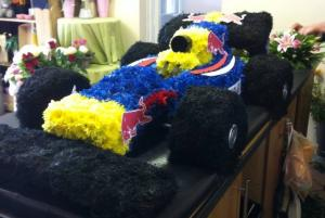 formula one car funeral flowers