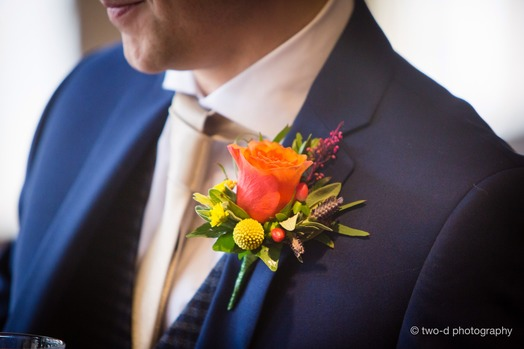 colourful grooms buttonhole bedford