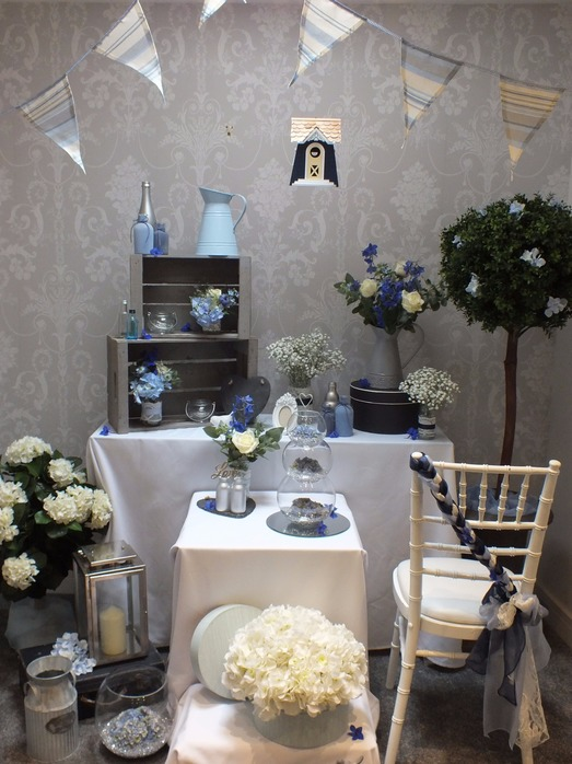 blue and white wedding style theme bedford