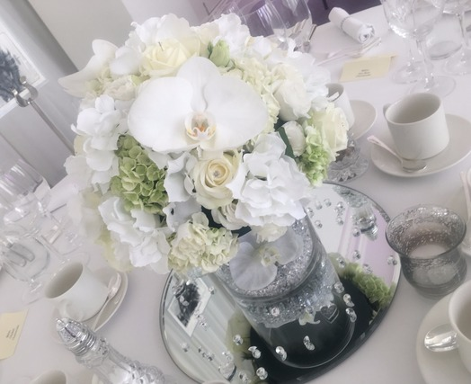 white wedding table centres bedford
