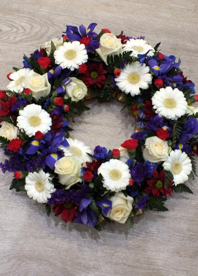 red white and blue wreath bedford