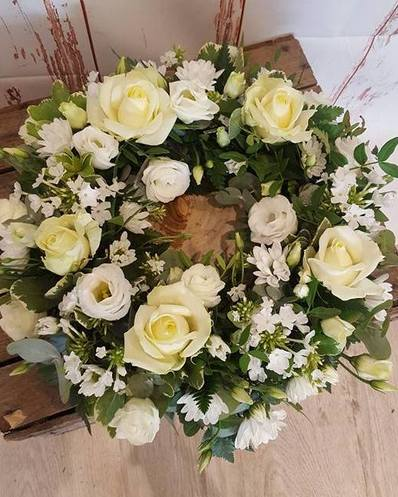 white funeral wreath bedford