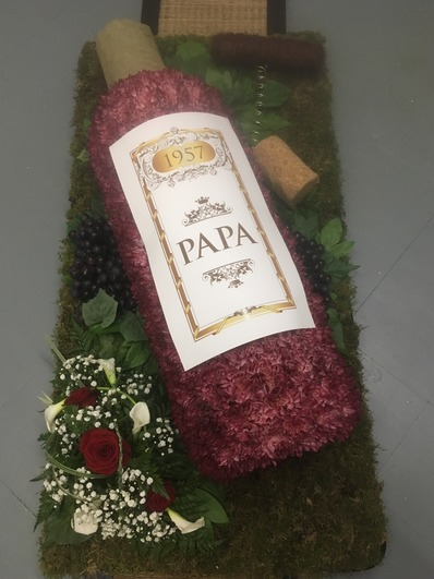 wine bottle funeral  tribute bedford