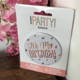 rose gold happy birthday badge